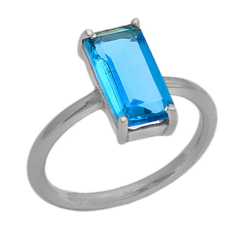 925 Sterling Silver Rectangle Shape Blue Topaz Gemstone Gold Plated Ring