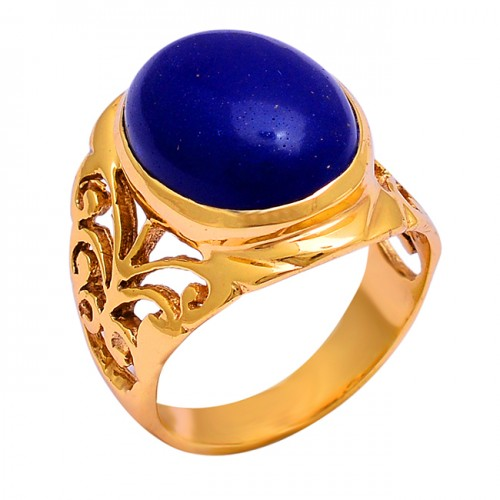 925 Sterling Silver Oval Shape Lapis Lazuli Gemstone Gold Plated Ring