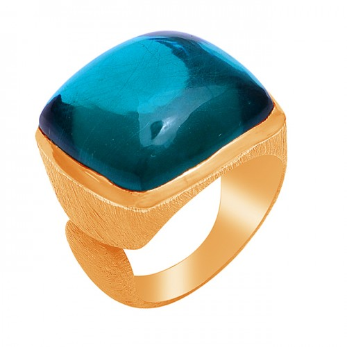 Square Shape Apatite Gemstone 925 Sterling Silver Gold Plated Ring