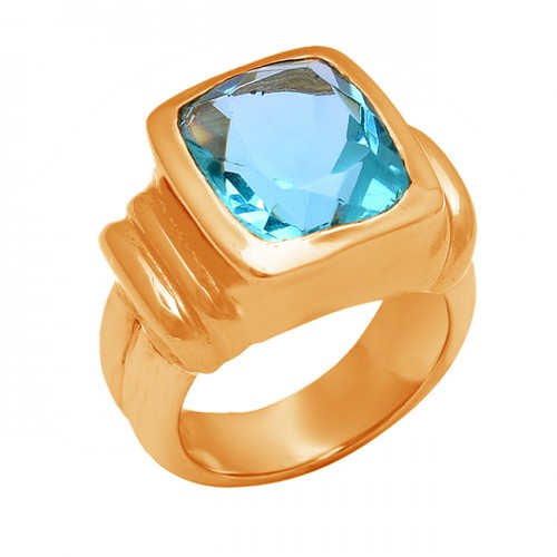 Cushion Shape Blue Topaz Gemstone 925 Sterling Silver Gold Plated Ring