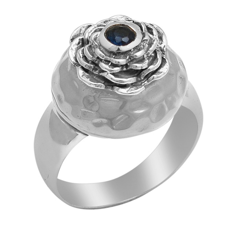 Iolite Round Shape Gemstone 925 Sterling Silver Gold Plated Ring Jewelry