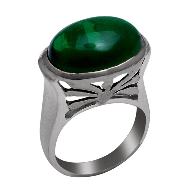 925 Sterling Silver Oval Shape Malachite Gemstone Gold Plated Ring