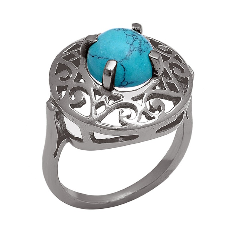 Round Cabochon Turquoise Gemstone 925 Sterling Silver Gold Plated Ring