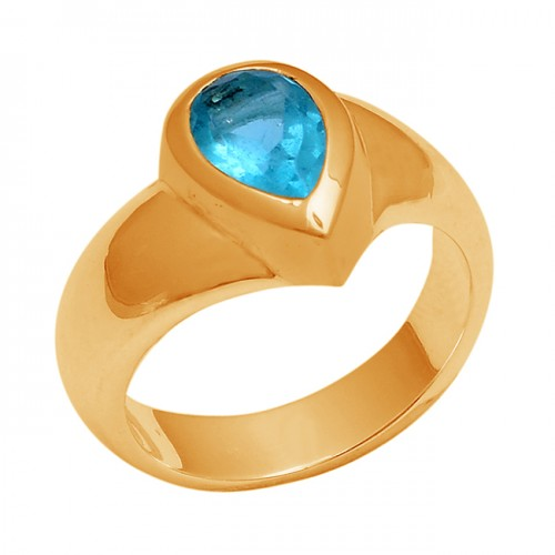 925 Sterling Silver Pear Shape Blue Topaz Gemstone Gold Plated Ring