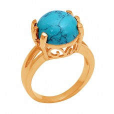 Prong Setting Round Shape Turquoise Gemstone 925 Sterling Silver Ring