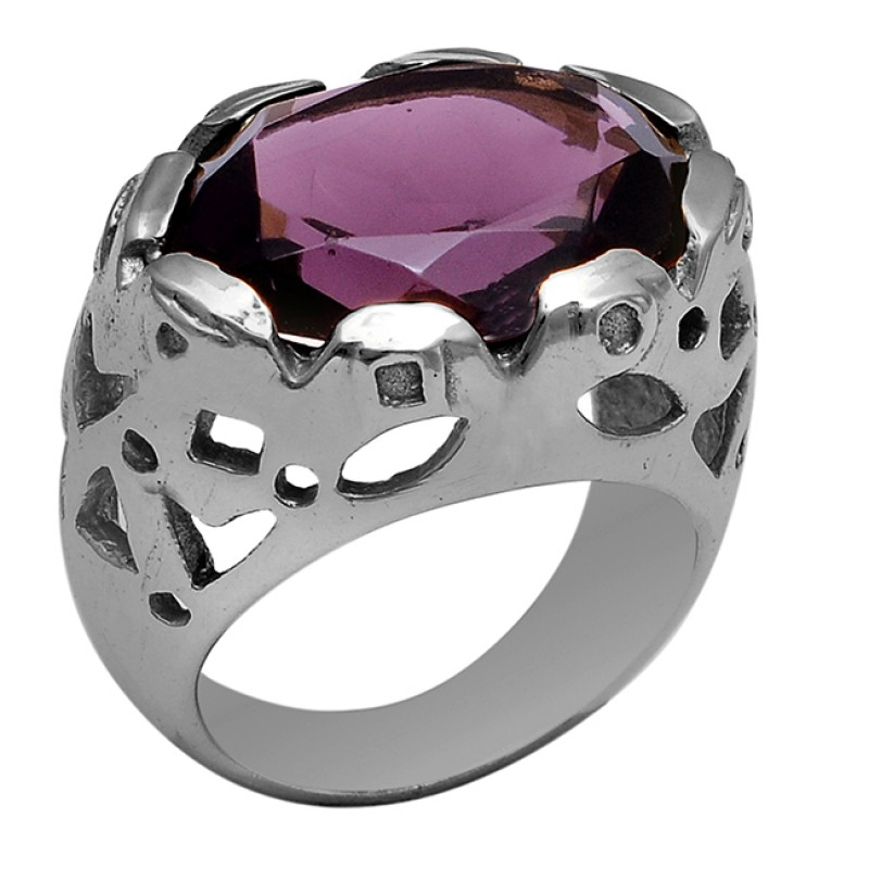 925 Sterling Silver Oval Shape Amethyst Gemstone Gold Plated Ring