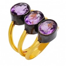 Faceted Oval Amethyst Gemstone Handmade 925 Sterling Silver Gold Plated Ring Jewelry