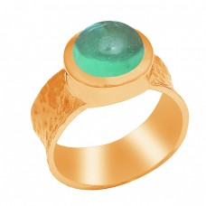 Round Shape Prehnite Chalcedony Gemstone 925 Sterling Silver Ring