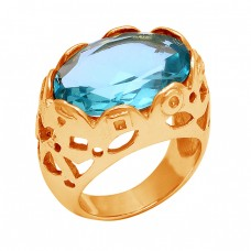 Filigree Style Designer Blue Topaz Gemstone Gold Plated Ring Jewelry
