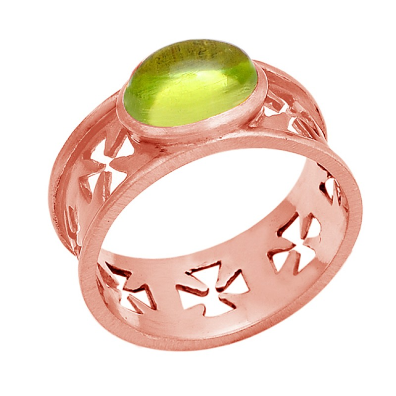 Oval Shape Peridot Gemstone 925 Sterling Silver Filigree Style Ring