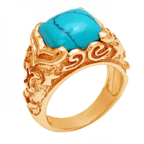 Cushion Shape Turquoise Gemstone 925 Sterling Silver Gold Plated Ring