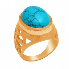 925 Sterling Silver Oval Shape Turquoise Gemstone Gold Plated Ring