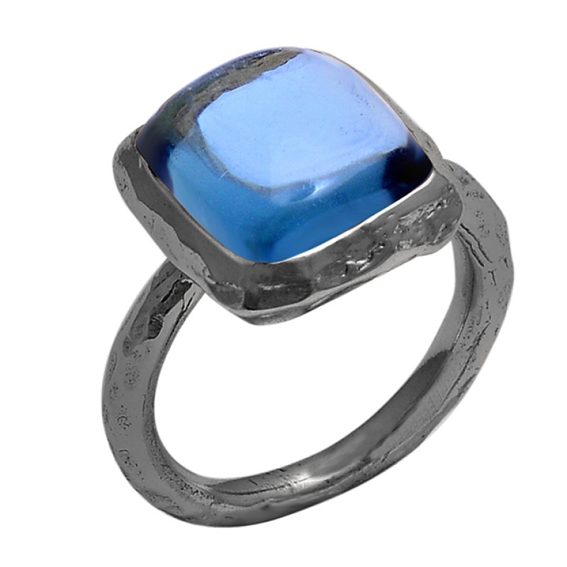 Rectangle Shape Blue Quartz Gemtone 925 Sterling Silver Gold Plated Ring