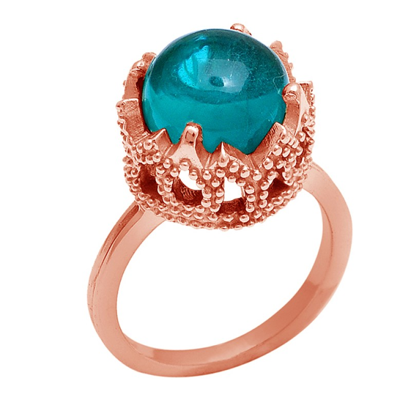 Round Shape Apatite Gemstone 925 Sterling Silver Gold Plated Ring Jewelry