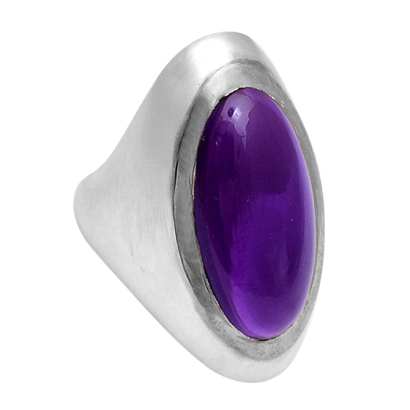 Amethyst Long Oval Shape 925 Sterling Silver Gold Plated Ring Jewelry