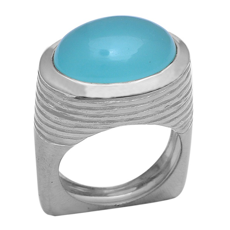 Oval Shape Aqua Chalcedony Gemstone 925 Sterling Silver Gold Plated Ring