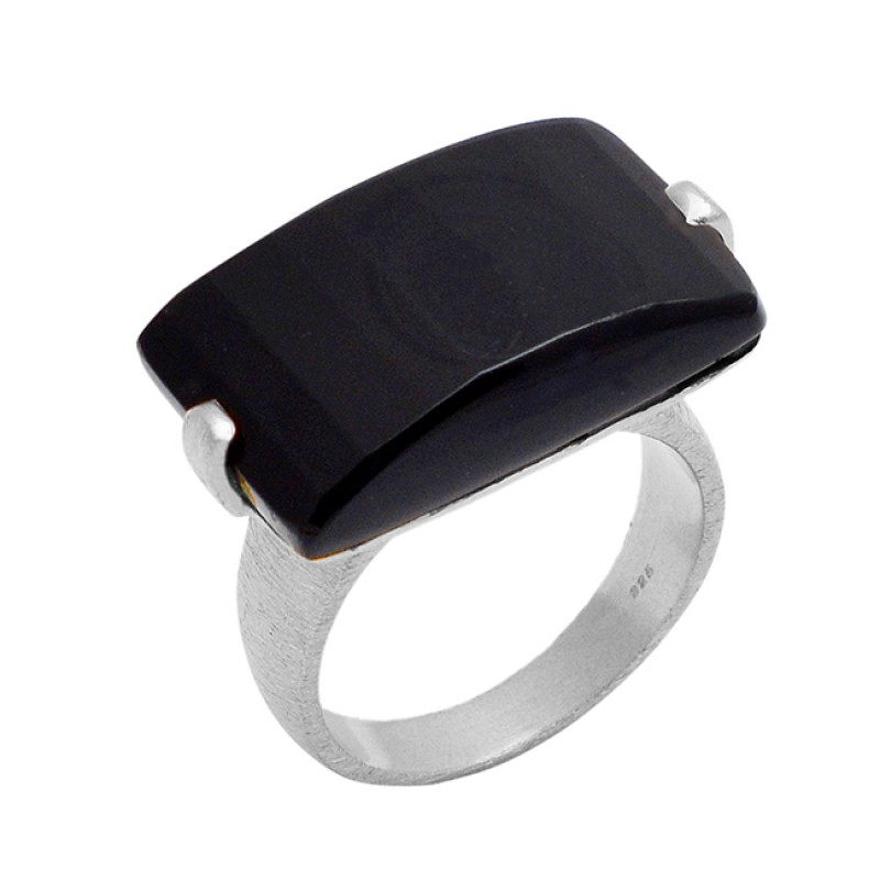 Fancy Shape Natural Black Onyx Gemstone 925 Sterling Silver Gold Plated Jewelry Ring