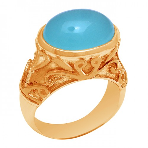 925 Sterling Silver Oval Shape Aqua Chalcedony Gemstone Gold Plated Ring