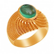 925 Sterling Silver Oval Shape Apatite Gemstone Gold Plated Ring Jewelry