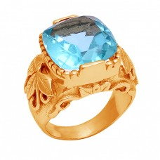 Faceted Square Shape Blue Topaz Gemstone 925 Silver Gold Plated Ring