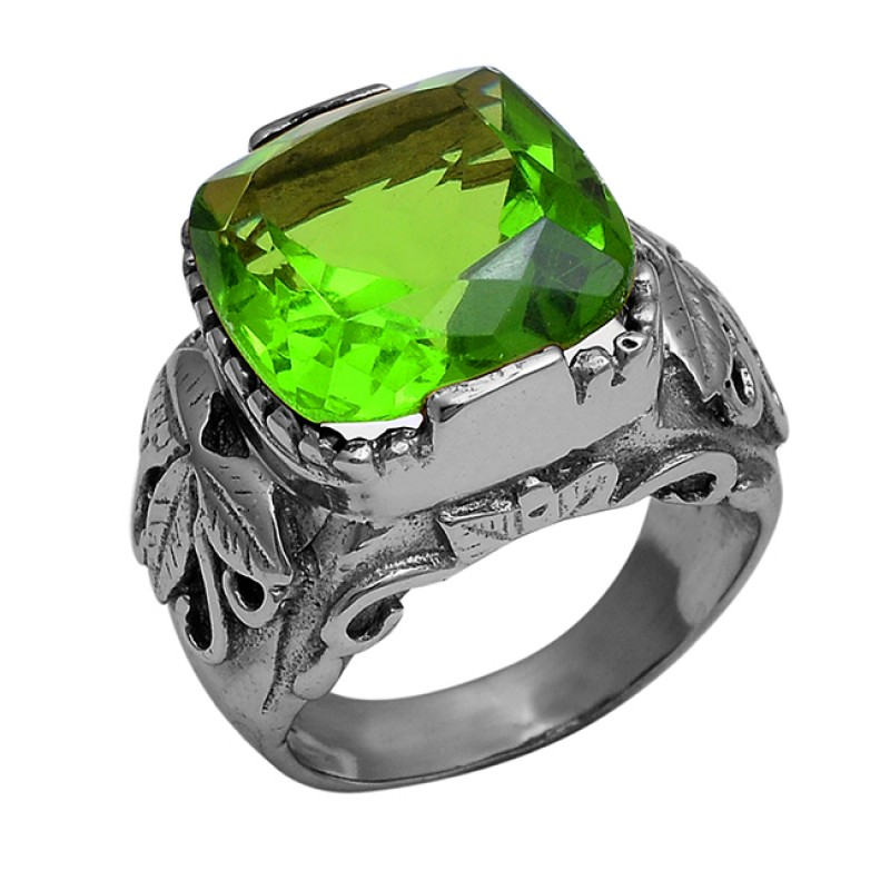 925 Sterling Silver Faceted Square Shape Peridot Gemstone Gold Plated Ring
