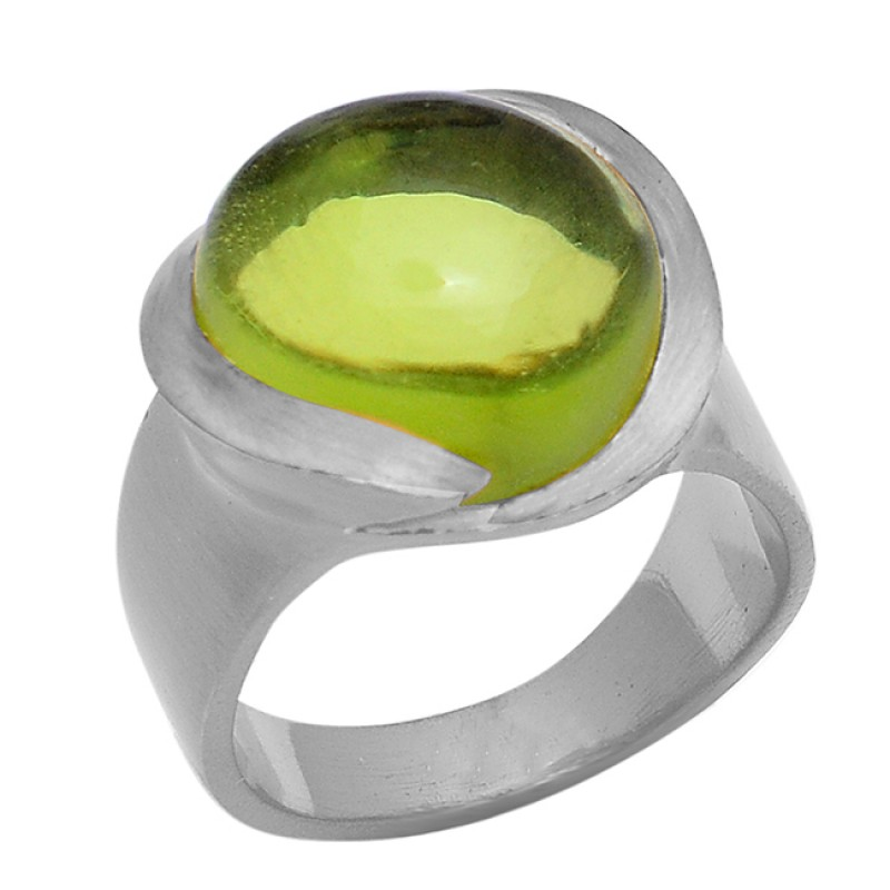 Round Shape Peridot Gemstone 925 Sterling Silver Gold Plated Ring