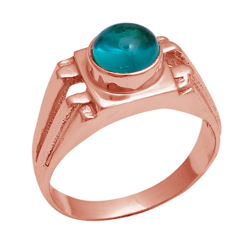 925 Sterling Silver Round Shape Apatite Gemstone Gold Plated Ring