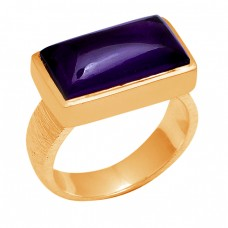 Cabochon Rectangle Shape Amethyst 925 Sterling Silver Gold Plated Ring