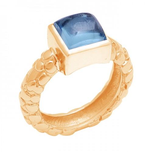 Square Shape Blue Topaz Gemstone 925 Sterling Silver Designer Ring