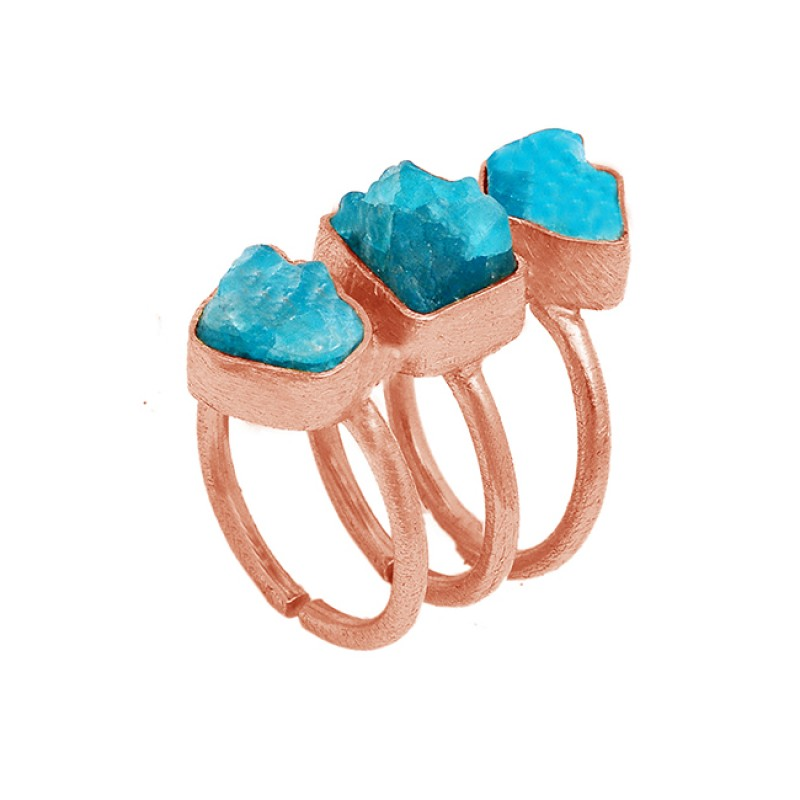 Raw Material Natural Apatite Rough 925 Sterling Silver Gold Plated Adjustable Ring