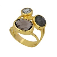 Smoky Quartz Blue Topaz Labradorite Gemstone Gold Plated Ring Jewelry