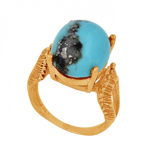 925 Sterling Silver Oval Shape Turquoise Gemstone Black Rhodium Ring