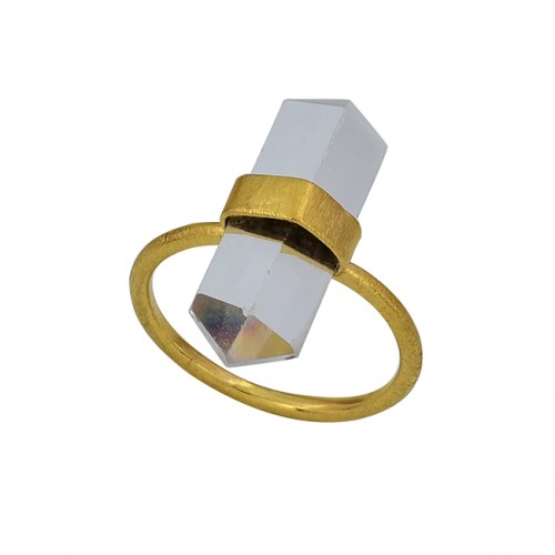 925 Sterling Silver Pencil Shape Crystal Quartz Gemstone Gold Plated Ring