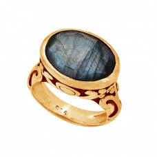 Oval Shape Labradorite Gemstone 925 Sterling Silver Designer Ring Jewelry