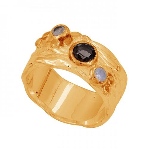 Round Shape Smoky Quartz Rainbow Moonstone 925 Sterling Silver Ring