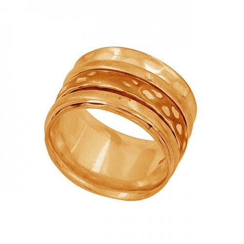 Handcrafted Designer Plain 925 Sterling Silver Gold Plated Ring Jewelry