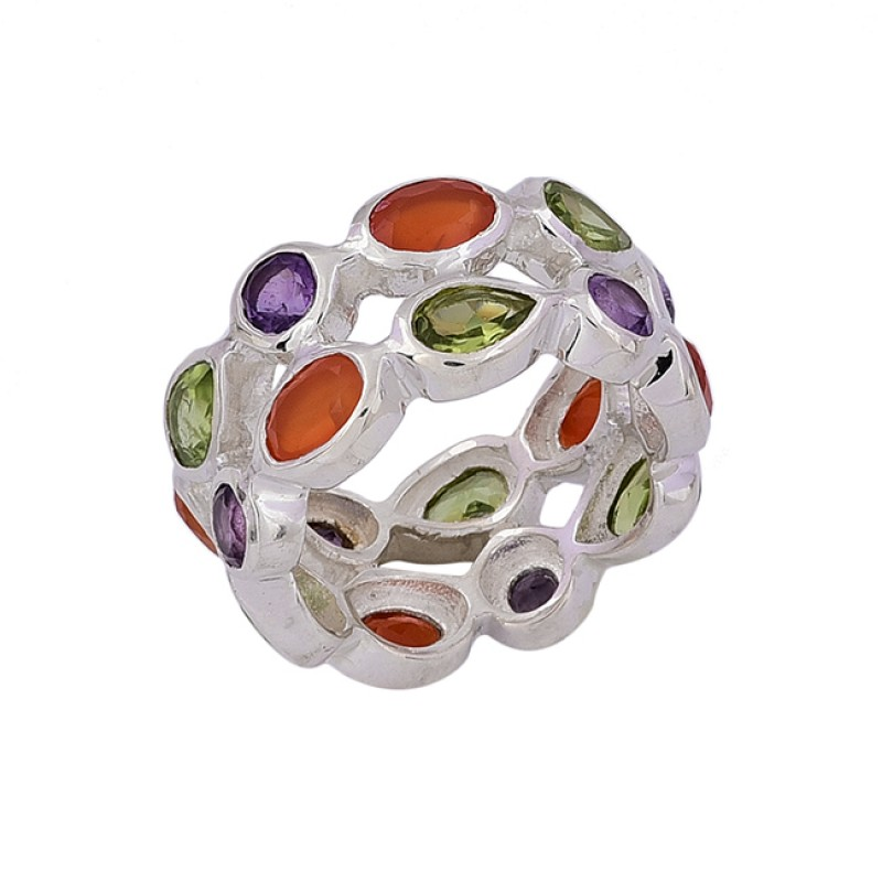 Oval Pear Round Shape Multi Color Gemstone 925 Sterling Silver Ring