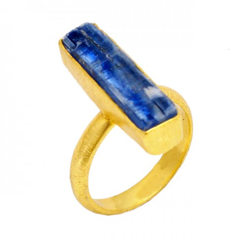 Raw Material Blue Kynite Rough Gemstone 925 Sterling Silver Gold Plated Jewelry Ring
