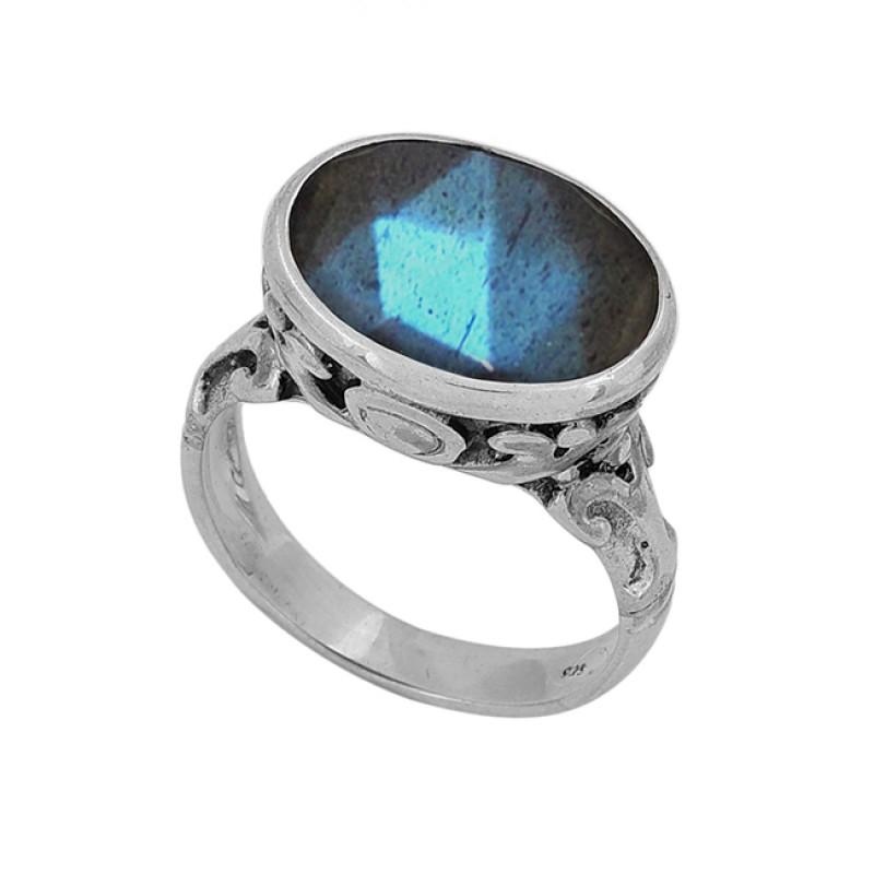925 Sterling Silver Oval Shape Labradorite Gemstone Designer Ring