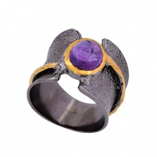 Oval Shape Amethyst Gemstone 925 Sterling Silver Black Rhodium Ring