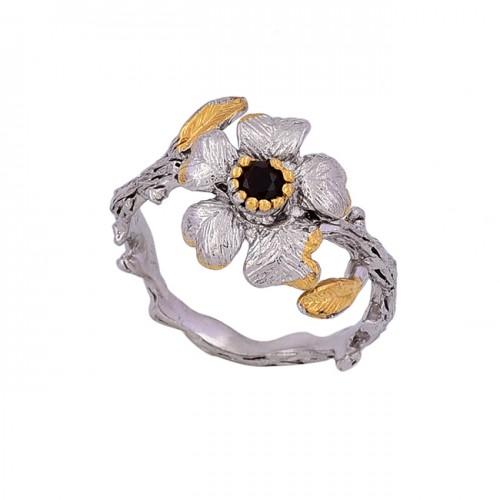 Round Shape Garnet Gemstone 925 Sterling Silver Designer Ring Jewelry