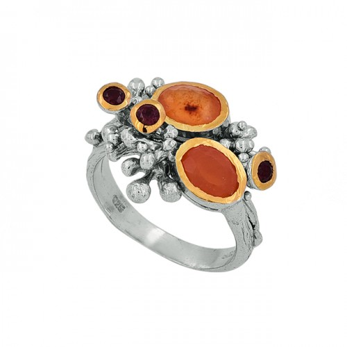 Carnelian Garnet Gemstone 925 Sterling Silver Gold Plated Ring Jewelry
