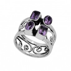 Oval Rectangle Amethyst Gemstone 925 Sterling Silver Designer Ring