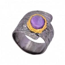 Oval Shape Amethyst Gemstone 925 Sterling Silver Black Rhodium Ring