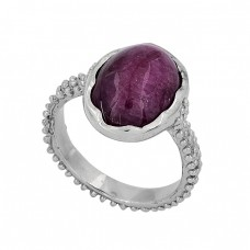 925 Sterling Silver Oval Shape Ruby Gemstone Handmade Ring