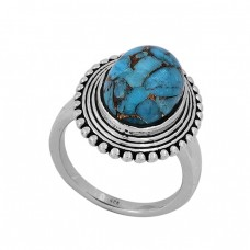 Oval Shape Blue Copper Turquoise Gemstone 925 Sterling Silver Ring