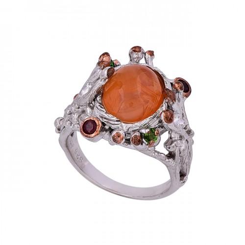 Carnelian Garnet Peridot Gemstone 925 Sterling Silver Designer Ring