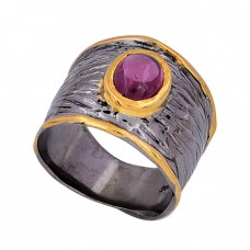 Oval Shape Red Garnet Gemstone 925 Sterling Silver Handmade Ring