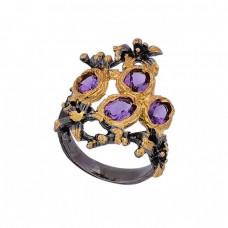 Faceted Oval Shape Amethyst Gemstone 925 Silver Black Rhodium Ring