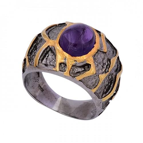 Oval Cabochon Amethyst Gemstone 925 Sterling Silver Black Rhodium Ring